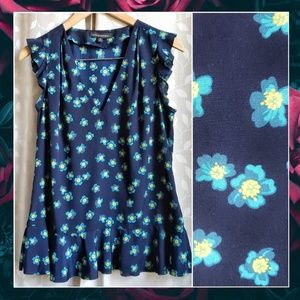 {Banana Rep}Navy Floral V Neck Ruffle Career Top M